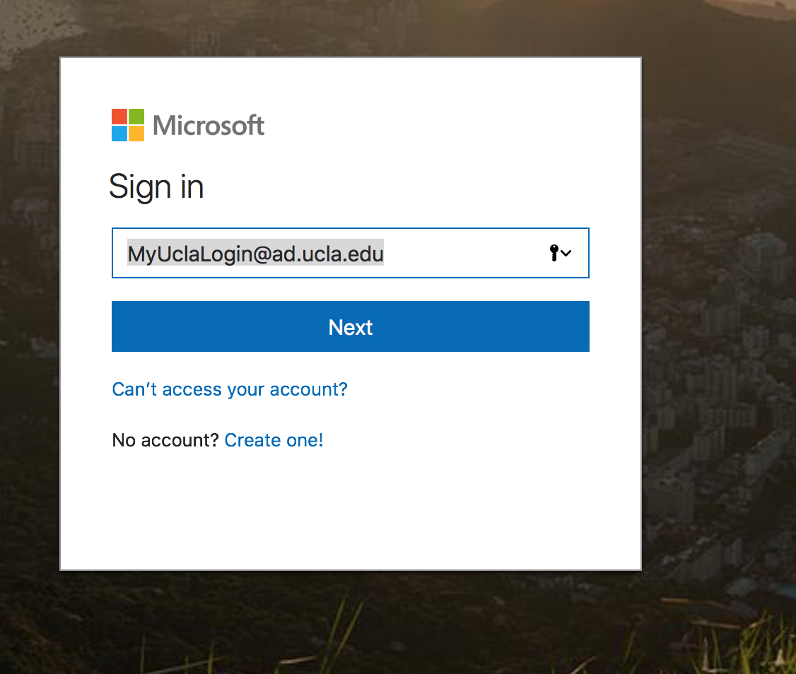 "portal.office.com login window with ""myuclalogin@ad.ucla.edu"" in the email line"