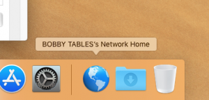 "screenshot of the blue globe with caption, ""Bobby tables network home"""